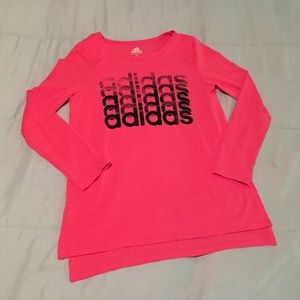 NWOT Adidas girls hot pink long sleeve tee